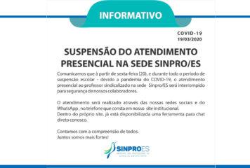 Suspensão do Atendimento Presencial na Sede Sinpro/ES
