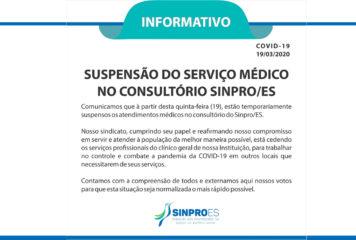Suspenção do Serviço Médico no Consultório Sinpro/ES